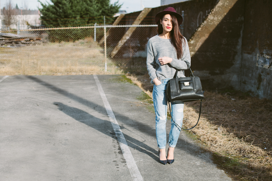 gray sweater bf jeans-101