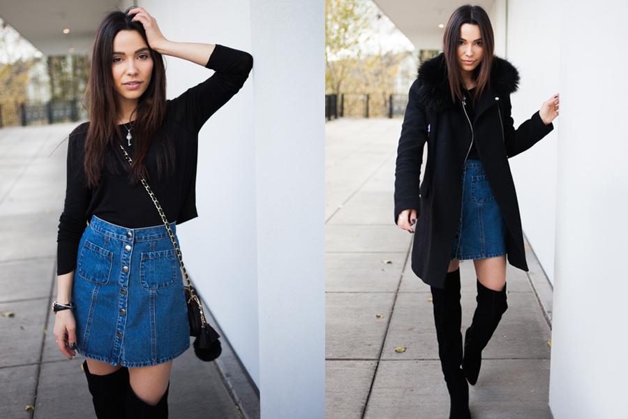 Denim Skirt Aldo Boots 01