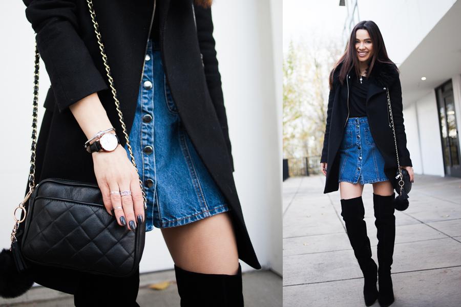 Denim Skirt Aldo Boots 03