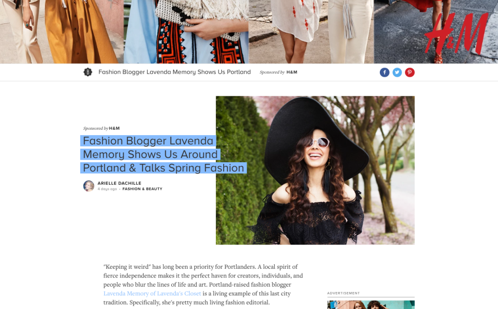 Bustle.com with HM- Portland & Spring Style