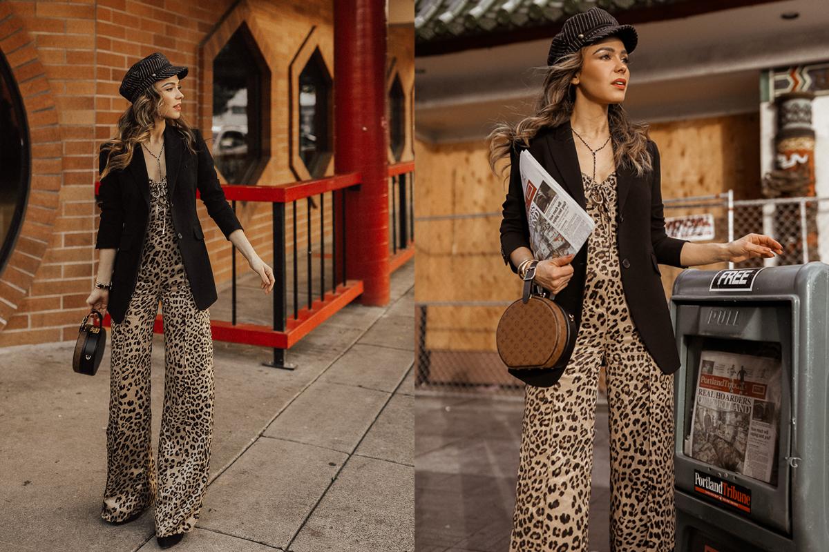 How to Mix Prints- Leopard Jumpsuit