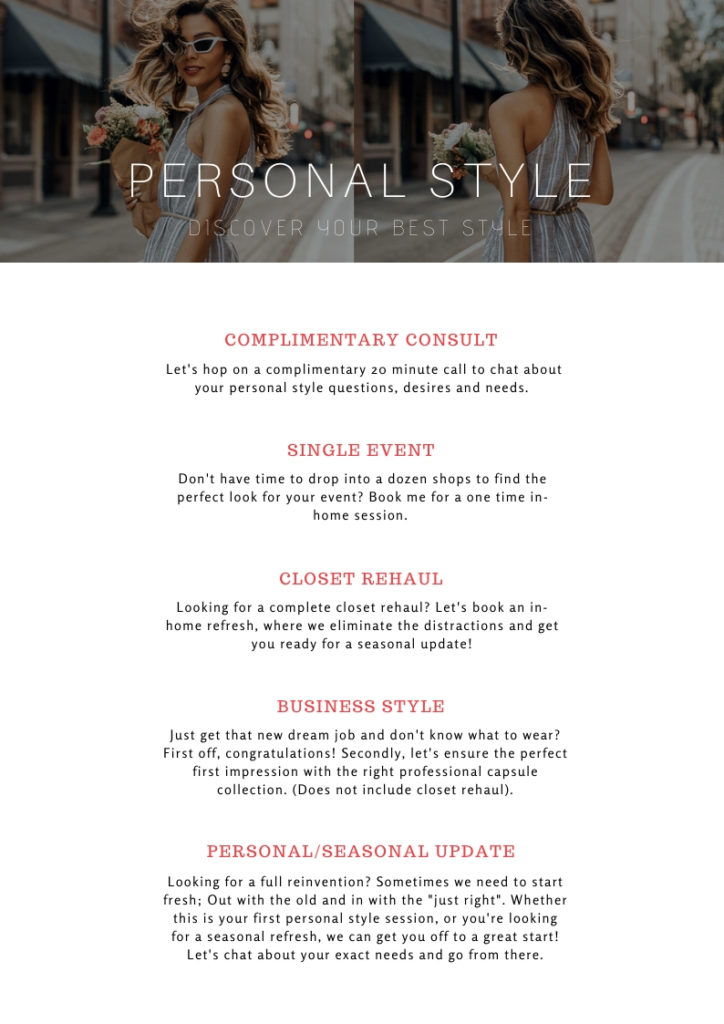 services, personal stylist, personal shopper